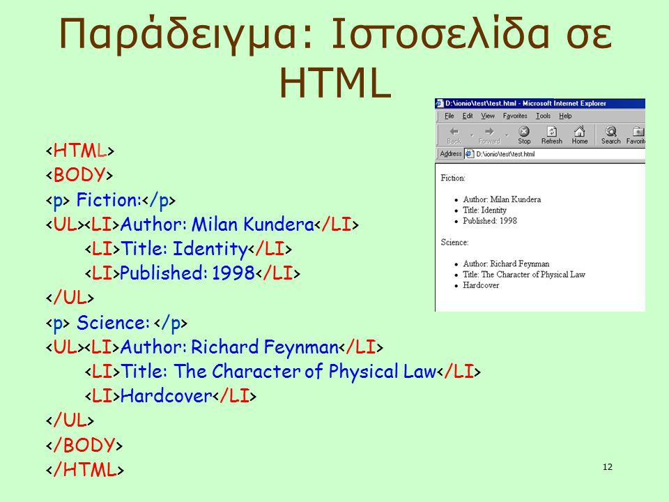12 Παράδειγμα: Ιστοσελίδα σε HTML Fiction: Author: Milan Kundera Title: Identity Published: 1998 Science: Author: Richard Feynman Title: The Character