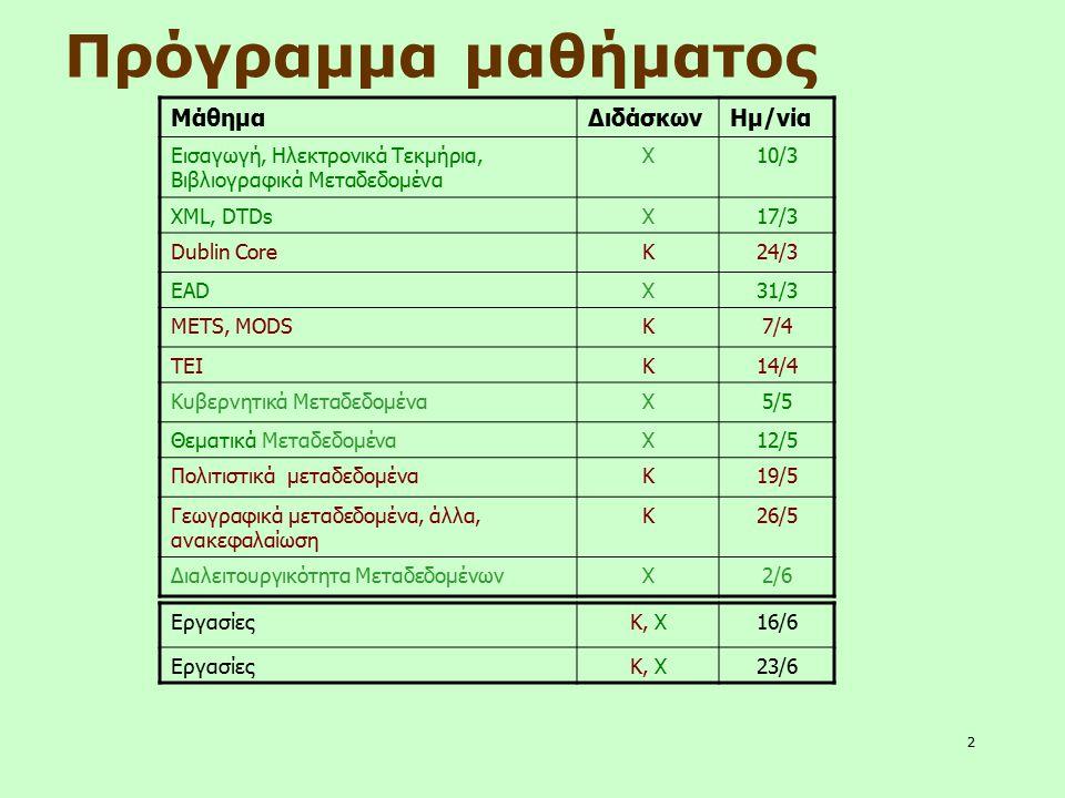 2 Πρόγραμμα μαθήματος ΜάθημαΔιδάσκωνΗμ/νία Εισαγωγή, Ηλεκτρονικά Τεκμήρια, Βιβλιογραφικά Μεταδεδομένα Χ10/3 XML, DTDsΧ17/3 Dublin CoreΚ24/3 EADΧ31/3 M