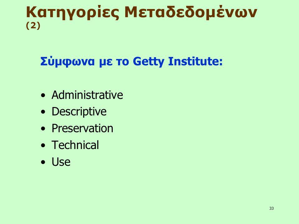 33 Κατηγορίες Μεταδεδομένων (2) Σύμφωνα με το Getty Institute: Administrative Descriptive Preservation Technical Use