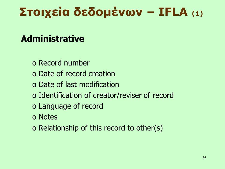 44 Στοιχεία δεδομένων – IFLA (1) Administrative o Record number o Date of record creation o Date of last modification o Identification of creator/revi