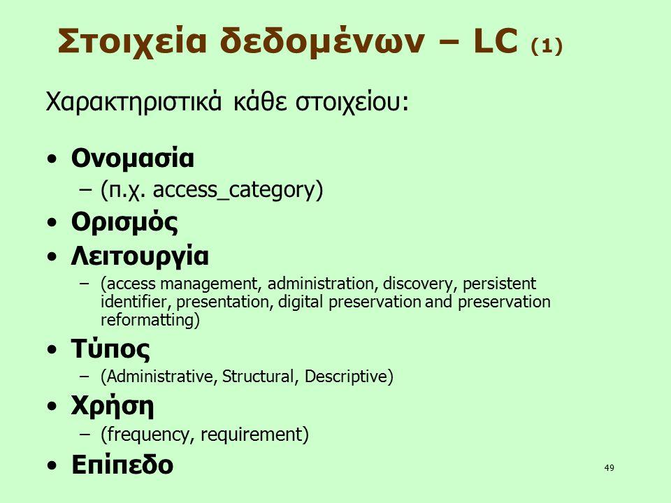49 Στοιχεία δεδομένων – LC (1) Χαρακτηριστικά κάθε στοιχείου: Ονομασία –(π.χ. access_category) Ορισμός Λειτουργία –(access management, administration,