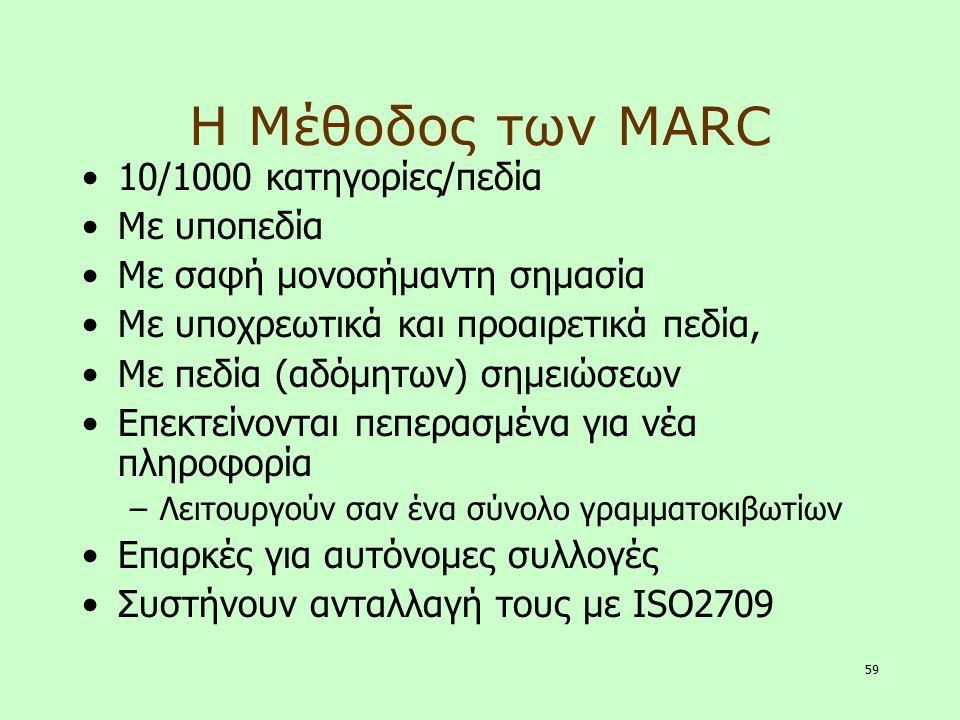 59 Η Μέθοδος των MARC 10/1000 κατηγορίες/πεδία Με υποπεδία Με σαφή μονοσήμαντη σημασία Με υποχρεωτικά και προαιρετικά πεδία, Με πεδία (αδόμητων) σημει