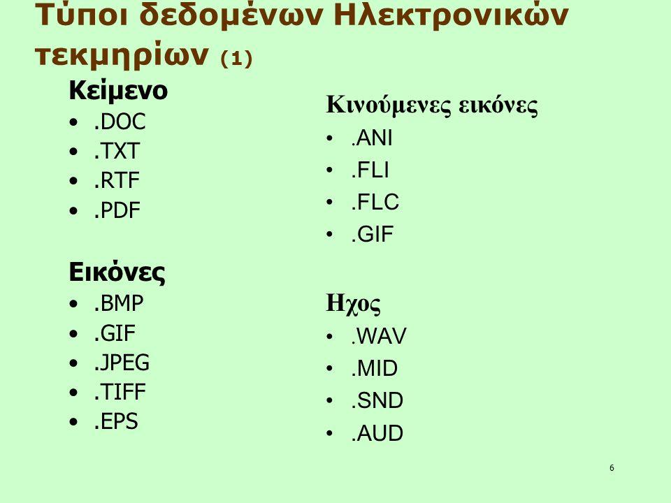 6 Κείμενο.DOC.TXT.RTF.PDF Εικόνες.BMP.GIF.JPEG.TIFF.EPS Τύποι δεδομένων Ηλεκτρονικών τεκμηρίων (1) Κινούμενες εικόνες. ANI.FLI.FLC.GIF Ηχος. WAV.MID.S
