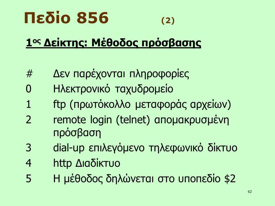 62 Πεδίο 856 (2) 1 ος Δείκτης: Μέθοδος πρόσβασης #Δεν παρέχονται πληροφορίες 0Ηλεκτρονικό ταχυδρομείο 1ftp (πρωτόκολλο μεταφοράς αρχείων) 2remote logi