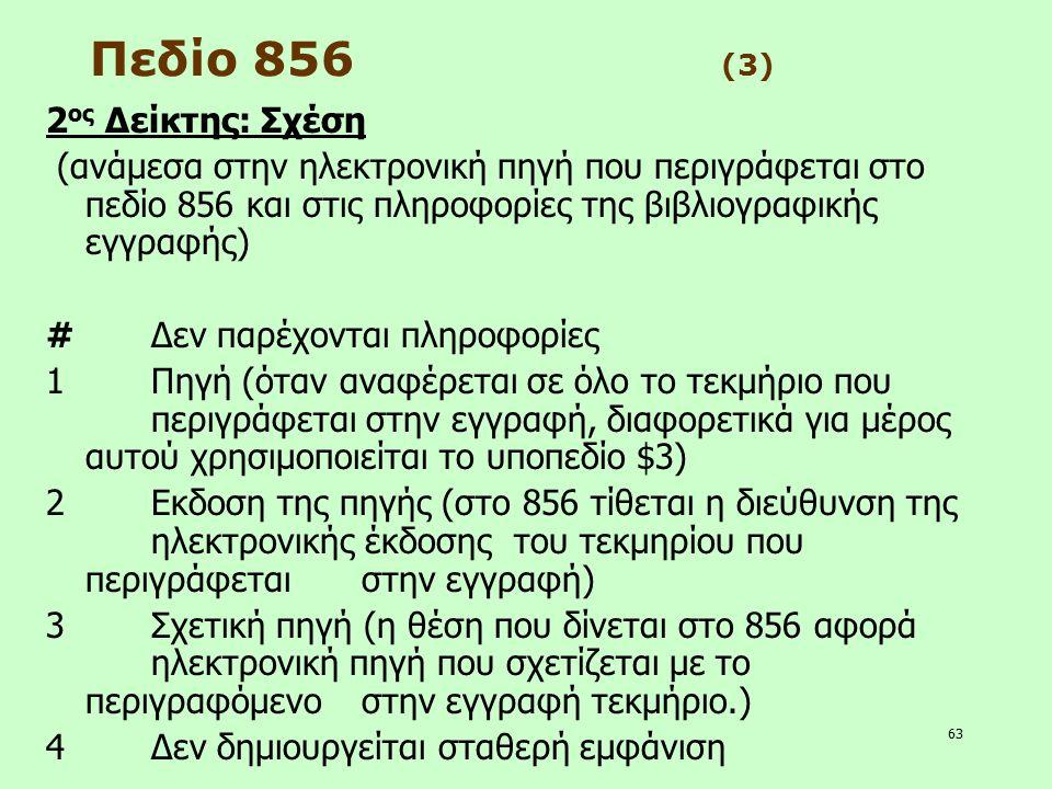 63 Πεδίο 856 (3) 2 ος Δείκτης: Σχέση (ανάμεσα στην ηλεκτρονική πηγή που περιγράφεται στο πεδίο 856 και στις πληροφορίες της βιβλιογραφικής εγγραφής) #