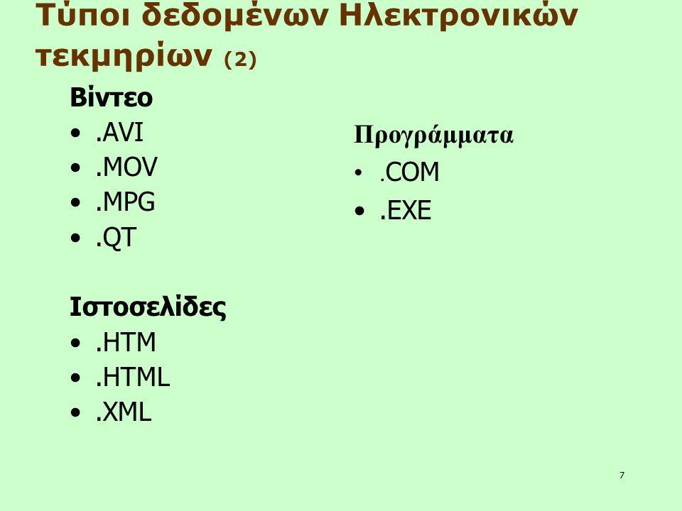 7 Βίντεο.AVI.MOV.MPG.QT Ιστοσελίδες.HTM.HTML.XML Τύποι δεδομένων Ηλεκτρονικών τεκμηρίων (2) Προγράμματα. COM.EXE