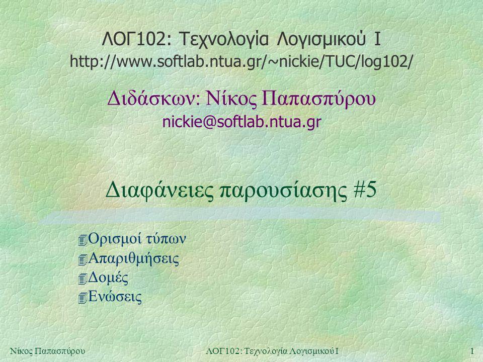 ΛΟΓ102: Τεχνολογία Λογισμικού Ι nickie@softlab.ntua.gr Διδάσκων: Νίκος Παπασπύρου http://www.softlab.ntua.gr/~nickie/TUC/log102/ 1Νίκος ΠαπασπύρουΛΟΓ102: Τεχνολογία Λογισμικού Ι Διαφάνειες παρουσίασης #5 4 Ορισμοί τύπων 4 Απαριθμήσεις 4 Δομές 4 Ενώσεις