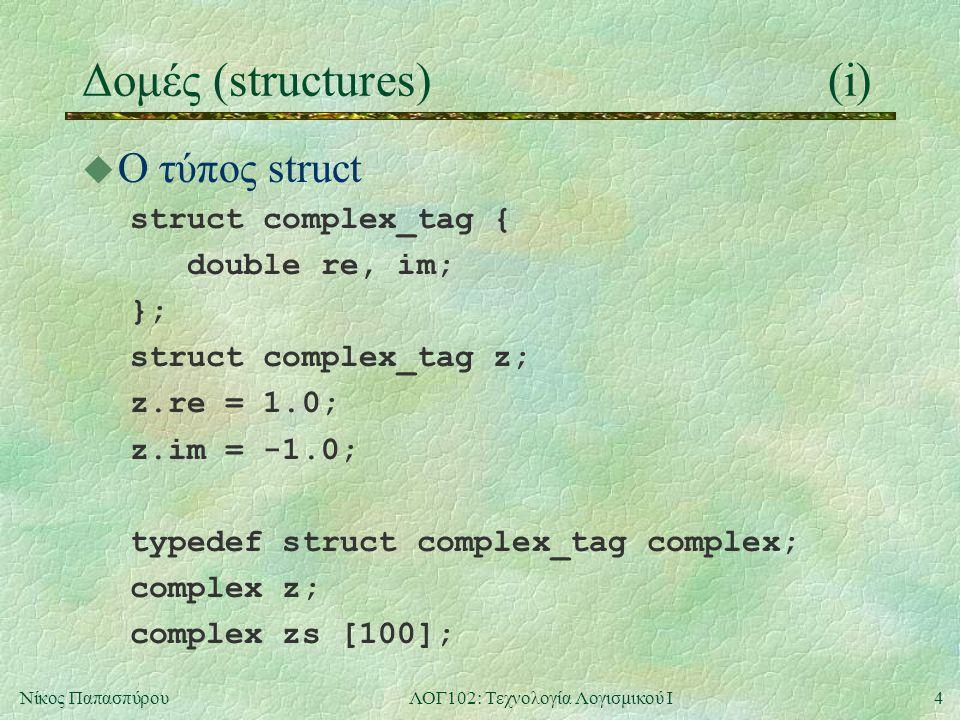 4Νίκος ΠαπασπύρουΛΟΓ102: Τεχνολογία Λογισμικού Ι Δομές (structures)(i) u Ο τύπος struct struct complex_tag { double re, im; }; struct complex_tag z; z.re = 1.0; z.im = -1.0; typedef struct complex_tag complex; complex z; complex zs [100];