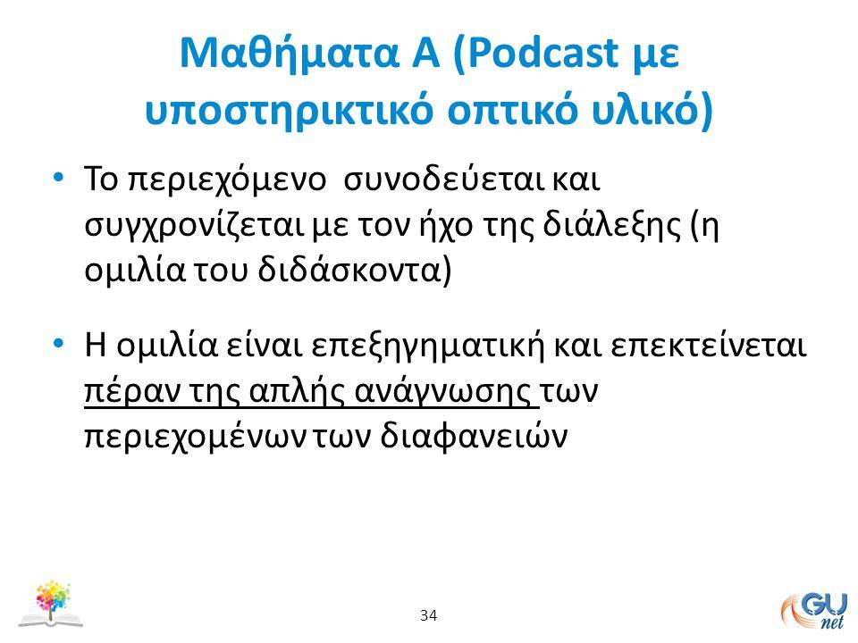 Μαθήματα Α (Podcast με υποστηρικτικό οπτικό υλικό) To περιεχόμενο συνοδεύεται και συγχρονίζεται με τον ήχο της διάλεξης (η ομιλία του διδάσκοντα) Η ομιλία είναι επεξηγηματική και επεκτείνεται πέραν της απλής ανάγνωσης των περιεχομένων των διαφανειών 34