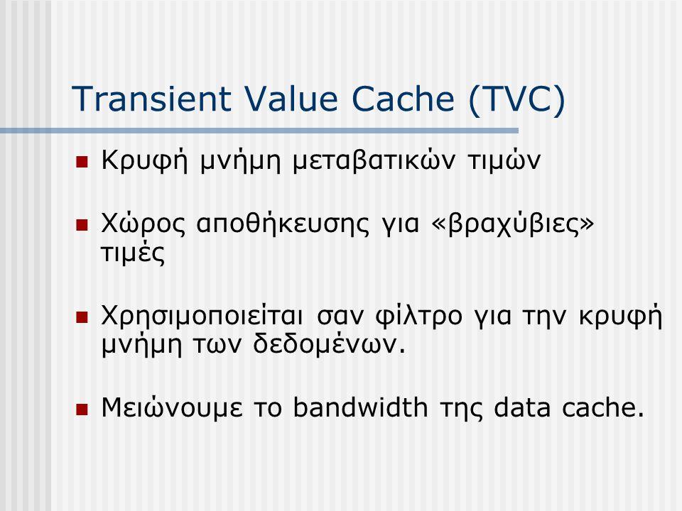 Transient Value Cache (TVC) Κρυφή μνήμη μεταβατικών τιμών Χώρος αποθήκευσης για «βραχύβιες» τιμές Χρησιμοποιείται σαν φίλτρο για την κρυφή μνήμη των δ