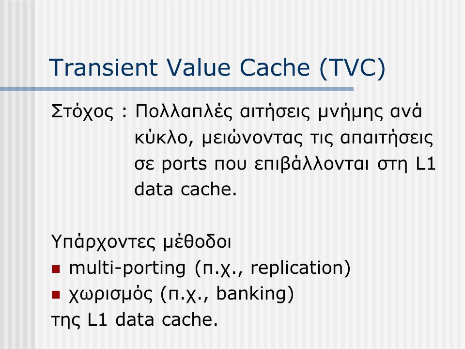 Transient Value Cache (TVC) Στόχος : Πολλαπλές αιτήσεις μνήμης ανά κύκλο, μειώνοντας τις απαιτήσεις σε ports που επιβάλλονται στη L1 data cache. Υπάρχ