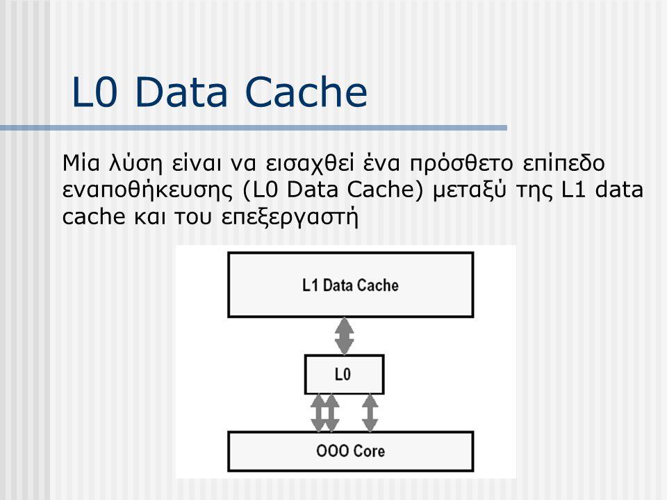 L0 Data Cache Μία λύση είναι να εισαχθεί ένα πρόσθετο επίπεδο εναποθήκευσης (L0 Data Cache) μεταξύ της L1 data cache και του επεξεργαστή