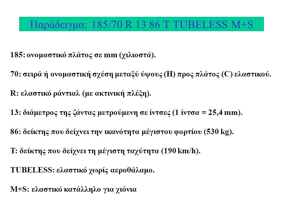 Παράδειγμα: 185/70 R 13 86 Τ TUBELESS M+S 185: ονομαστικό πλάτος σε mm (χιλιοστά). 70: σειρά ή ονομαστική σχέση μεταξύ ύψους (Η) προς πλάτος (C) ελαστ