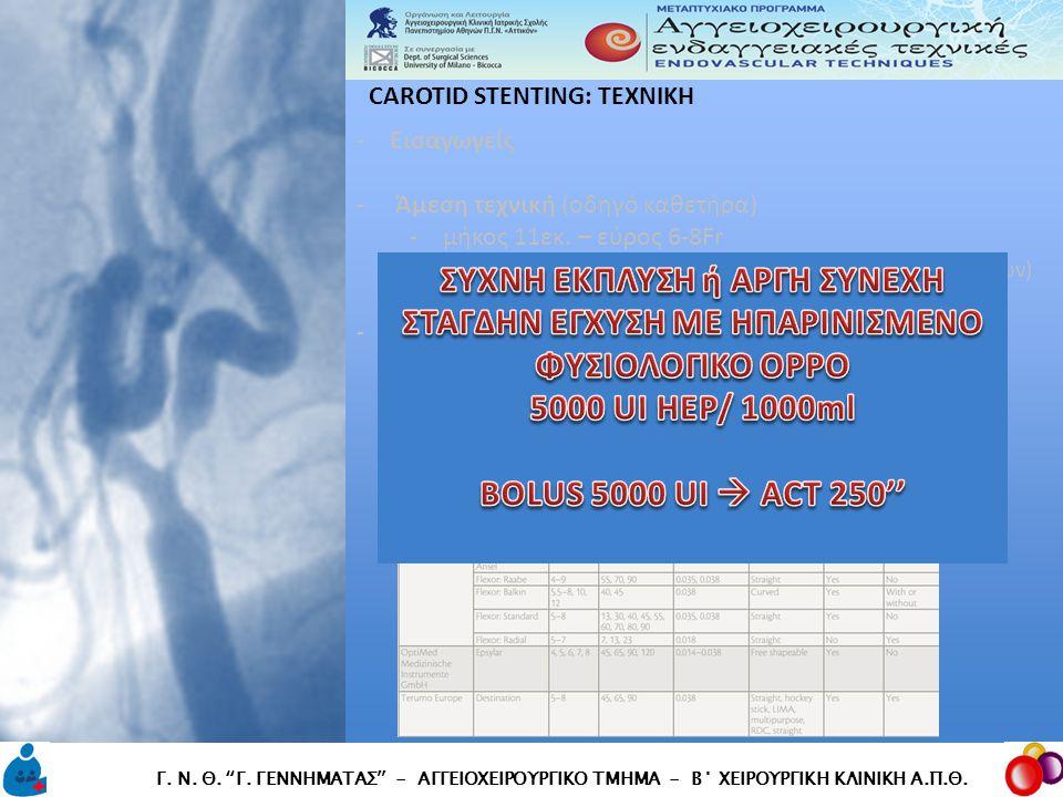 CAROTID STENTING: TEXNIKH CAROTID STENTING: TEXNIKH Γ.