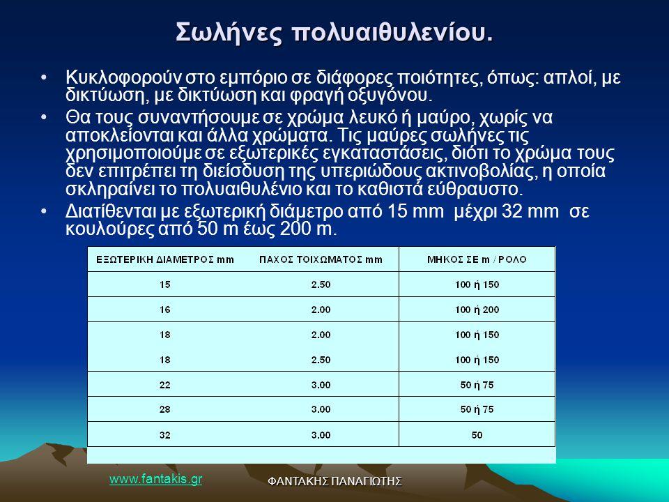 www.fantakis.gr ΦΑΝΤΑΚΗΣ ΠΑΝΑΓΙΩΤΗΣ Σωλήνες πολυαιθυλενίου. Κυκλοφορούν στο εμπόριο σε διάφορες ποιότητες, όπως: απλοί, με δικτύωση, με δικτύωση και φ