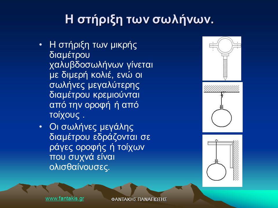 www.fantakis.gr ΦΑΝΤΑΚΗΣ ΠΑΝΑΓΙΩΤΗΣ Η στήριξη των σωλήνων. Η στήριξη των μικρής διαμέτρου χαλυβδοσωλήνων γίνεται με διμερή κολιέ, ενώ οι σωλήνες μεγαλ