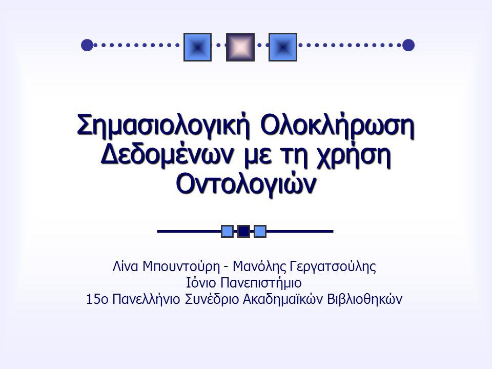 Σημασιολογική Ολοκλήρωση Δεδομένων με τη χρήση Οντολογιών Λίνα Μπουντούρη - Μανόλης Γεργατσούλης Ιόνιο Πανεπιστήμιο 15ο Πανελλήνιο Συνέδριο Ακαδημαϊκών Βιβλιοθηκών