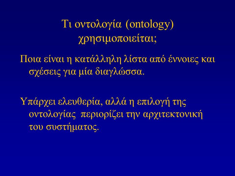 Τι οντολογία (ontology) χρησιμοποιείται; Ποια είναι η κατάλληλη λίστα από έννοιες και σχέσεις για μία διαγλώσσα. Υπάρχει ελευθερία, αλλά η επιλογή της