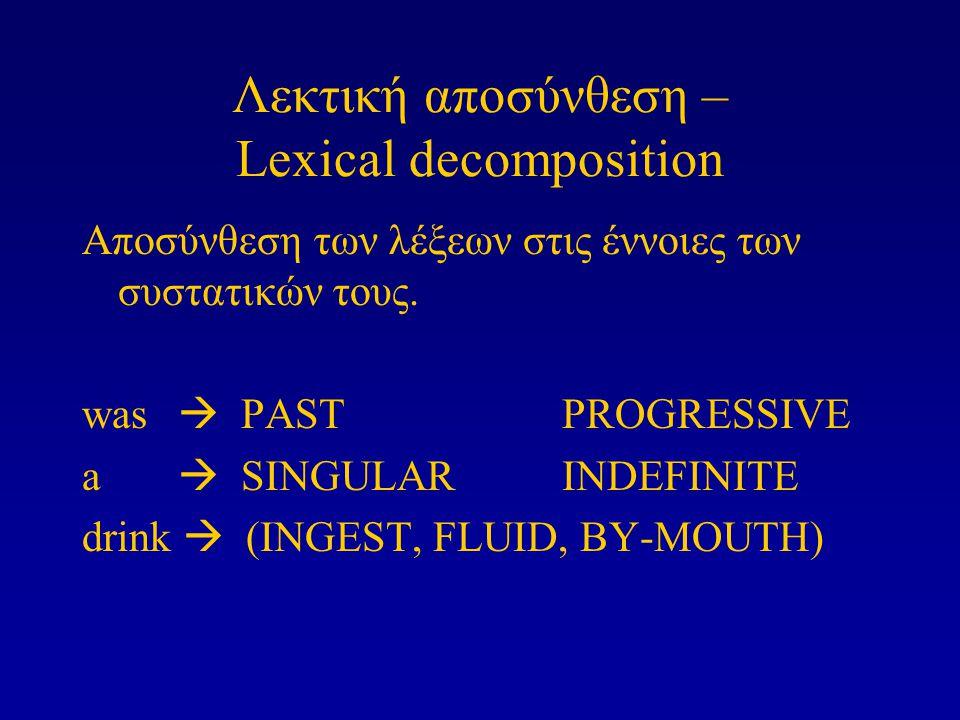Λεκτική αποσύνθεση – Lexical decomposition Αποσύνθεση των λέξεων στις έννοιες των συστατικών τους. was  PASTPROGRESSIVE a  SINGULARINDEFINITE drink