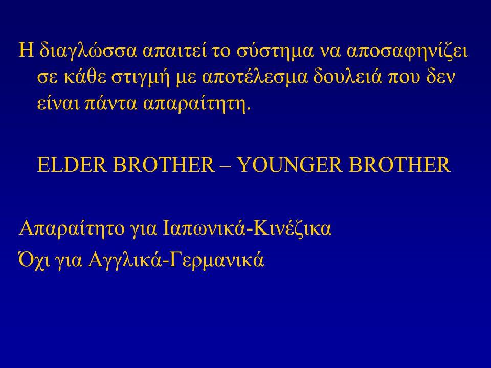 Η διαγλώσσα απαιτεί το σύστημα να αποσαφηνίζει σε κάθε στιγμή με αποτέλεσμα δουλειά που δεν είναι πάντα απαραίτητη. ELDER BROTHER – YOUNGER BROTHER Απ
