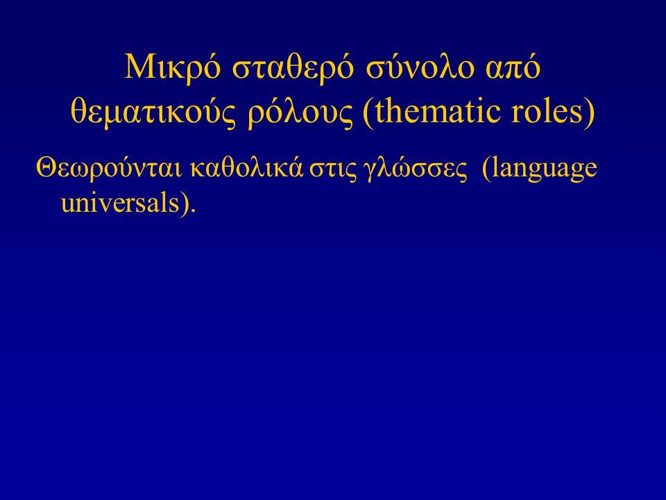 Μικρό σταθερό σύνολο από θεματικούς ρόλους (thematic roles) Θεωρούνται καθολικά στις γλώσσες (language universals).
