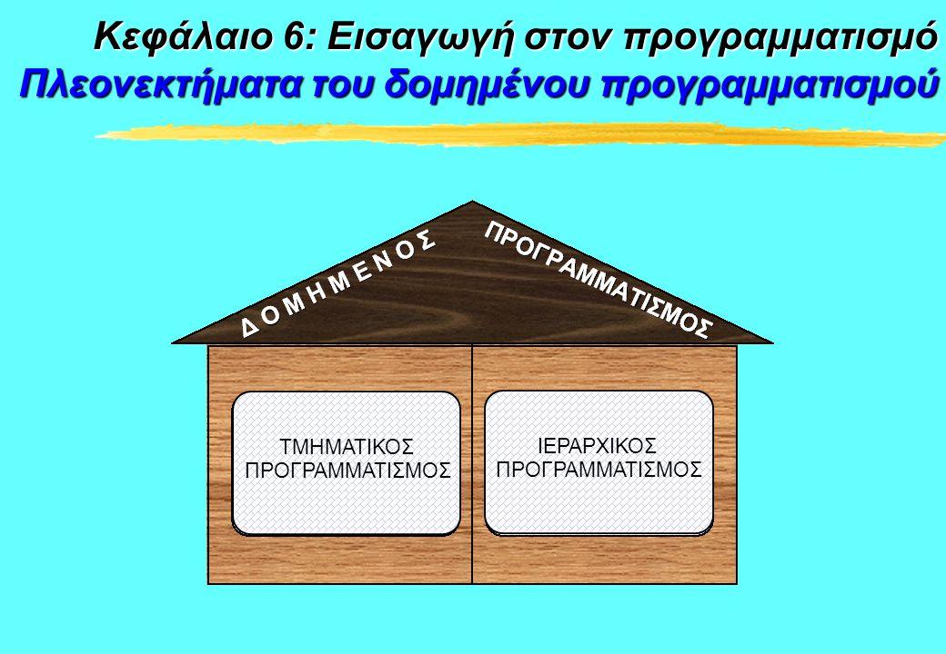 ΤΜΗΜΑΤΙΚΟΣ ΠΡΟΓΡΑΜΜΑΤΙΣΜΟΣ ΙΕΡΑΡΧΙΚΟΣ ΠΡΟΓΡΑΜΜΑΤΙΣΜΟΣ Κεφάλαιο 6: Εισαγωγή στον προγραμματισμό Πλεονεκτήματα του δομημένου προγραμματισμού