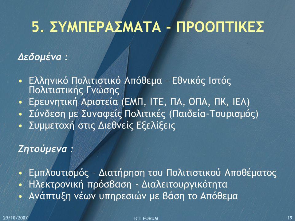 29/10/2007 ICT FORUM 19 5. ΣΥΜΠΕΡΑΣΜΑΤΑ - ΠΡΟΟΠΤΙΚΕΣ Δεδομένα : Ελληνικό Πολιτιστικό Απόθεμα – Εθνικός Ιστός Πολιτιστικής Γνώσης Ερευνητική Αριστεία (