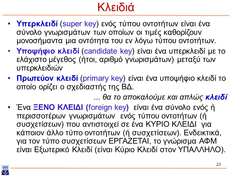 20 Κλειδιά Υπερκλειδί (super key) ενός τύπου οντοτήτων είναι ένα σύνολο γνωρισμάτων των οποίων οι τιμές καθορίζουν μονοσήμαντα μια οντότητα του εν λόγ