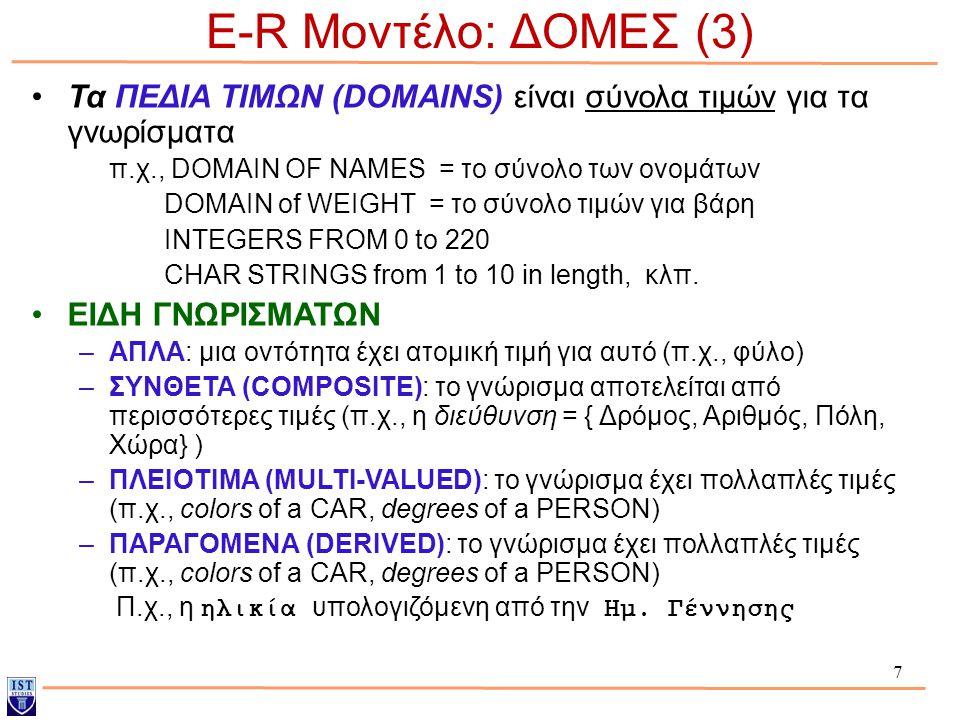 7 E-R Μοντέλο: ΔΟΜΕΣ (3) Τα ΠΕΔΙΑ ΤΙΜΩΝ (DOMAINS) είναι σύνολα τιμών για τα γνωρίσματα π.χ., DOMAIN OF NAMES = το σύνολο των ονομάτων DOMAIN of WEIGHT