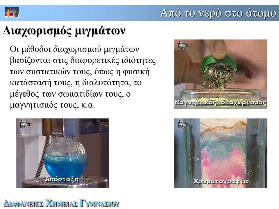 Από το νερό στο άτομο Δ ΙΑΦΑΝΕΙΕΣ Χ ΗΜΕΙΑΣ Γ ΥΜΝΑΣΙΟΥ Οι μέθοδοι διαχωρισμού μιγμάτων βασίζονται στις διαφορετικές ιδιότητες των συστατικών τους, όπως η φυσική κατάστασή τους, η διαλυτότητα, το μέγεθος των σωματιδίων τους, ο μαγνητισμός τους, κ.α.