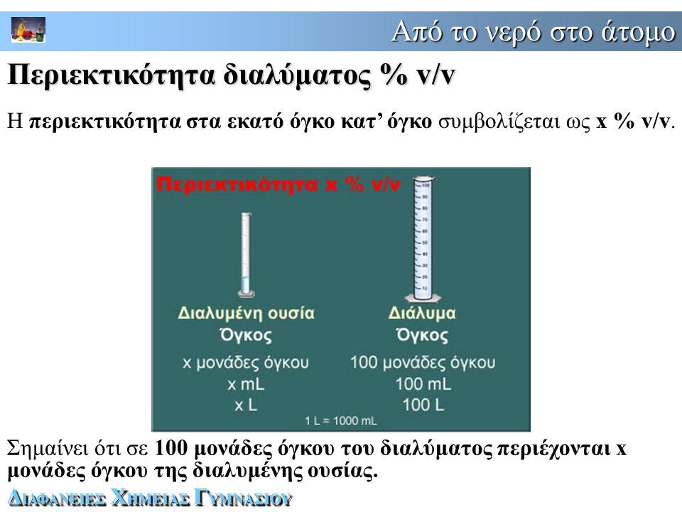 Από το νερό στο άτομο Δ ΙΑΦΑΝΕΙΕΣ Χ ΗΜΕΙΑΣ Γ ΥΜΝΑΣΙΟΥ Η περιεκτικότητα στα εκατό όγκο κατ' όγκο συμβολίζεται ως x % v/v.