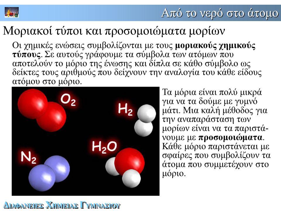 Από το νερό στο άτομο Δ ΙΑΦΑΝΕΙΕΣ Χ ΗΜΕΙΑΣ Γ ΥΜΝΑΣΙΟΥ Μοριακοί τύποι και προσομοιώματα μορίων Οι χημικές ενώσεις συμβολίζονται με τους μοριακούς χημικούς τύπους.