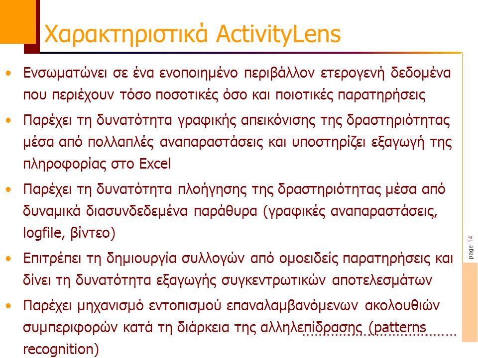 page 14 Χαρακτηριστικά ActivityLens Ενσωματώνει σε ένα ενοποιημένο περιβάλλον ετερογενή δεδομένα που περιέχουν τόσο ποσοτικές όσο και ποιοτικές παρατηρήσεις Παρέχει τη δυνατότητα γραφικής απεικόνισης της δραστηριότητας μέσα από πολλαπλές αναπαραστάσεις και υποστηρίζει εξαγωγή της πληροφορίας στο Excel Παρέχει τη δυνατότητα πλοήγησης της δραστηριότητας μέσα από δυναμικά διασυνδεδεμένα παράθυρα (γραφικές αναπαραστάσεις, logfile, βίντεο) Επιτρέπει τη δημιουργία συλλογών από ομοειδείς παρατηρήσεις και δίνει τη δυνατότητα εξαγωγής συγκεντρωτικών αποτελεσμάτων Παρέχει μηχανισμό εντοπισμού επαναλαμβανόμενων ακολουθιών συμπεριφορών κατά τη διάρκεια της αλληλεπίδρασης (patterns recognition)