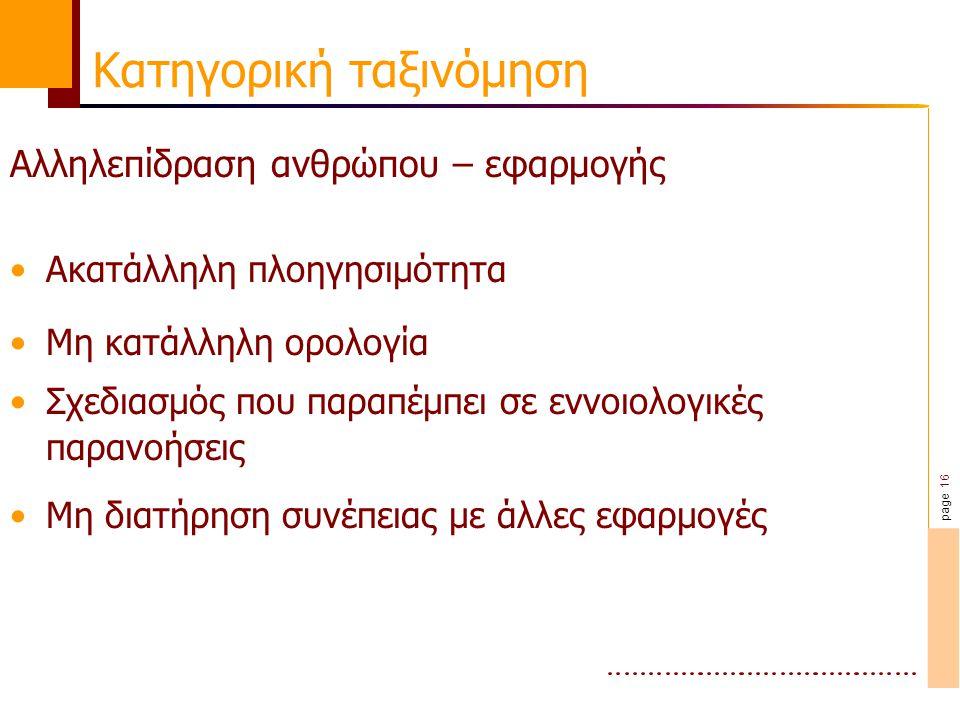 page 16 Κατηγορική ταξινόμηση Αλληλεπίδραση ανθρώπου – εφαρμογής Ακατάλληλη πλοηγησιμότητα Μη κατάλληλη ορολογία Σχεδιασμός που παραπέμπει σε εννοιολογικές παρανοήσεις Μη διατήρηση συνέπειας με άλλες εφαρμογές
