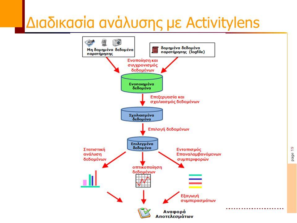 page 19 Διαδικασία ανάλυσης με Activitylens