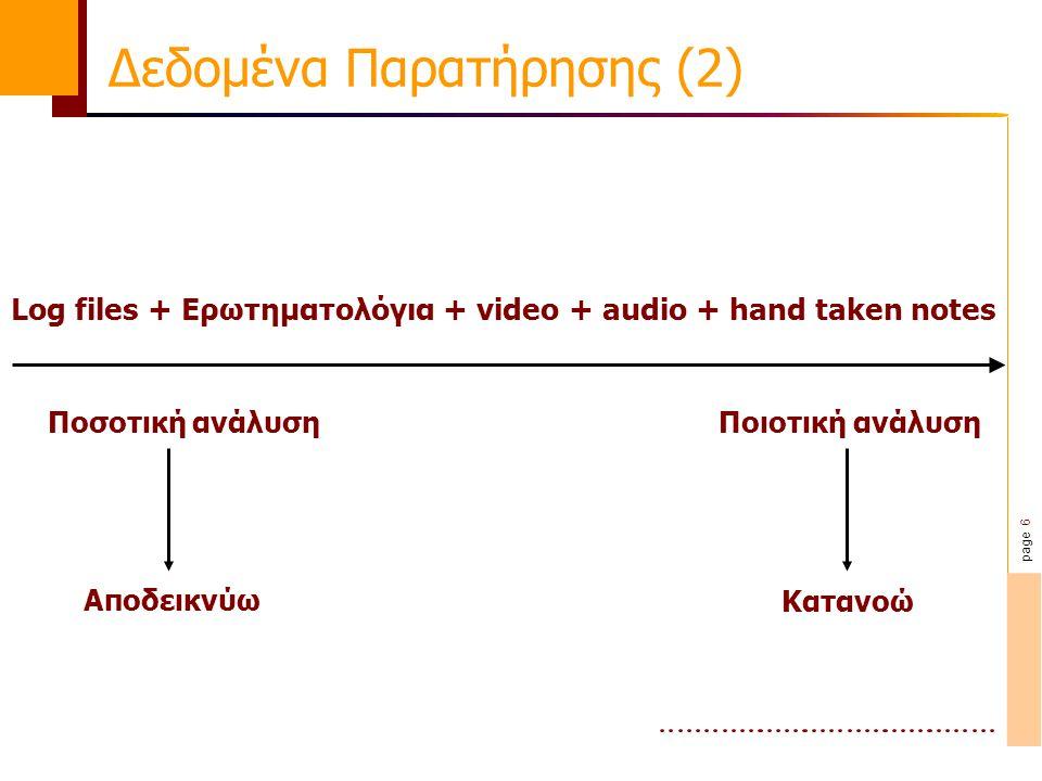 page 6 Δεδομένα Παρατήρησης (2) Ποσοτική ανάλυσηΠοιοτική ανάλυση Log files + Ερωτηματολόγια + video + audio + hand taken notes ΑποδεικνύωΚατανοώ