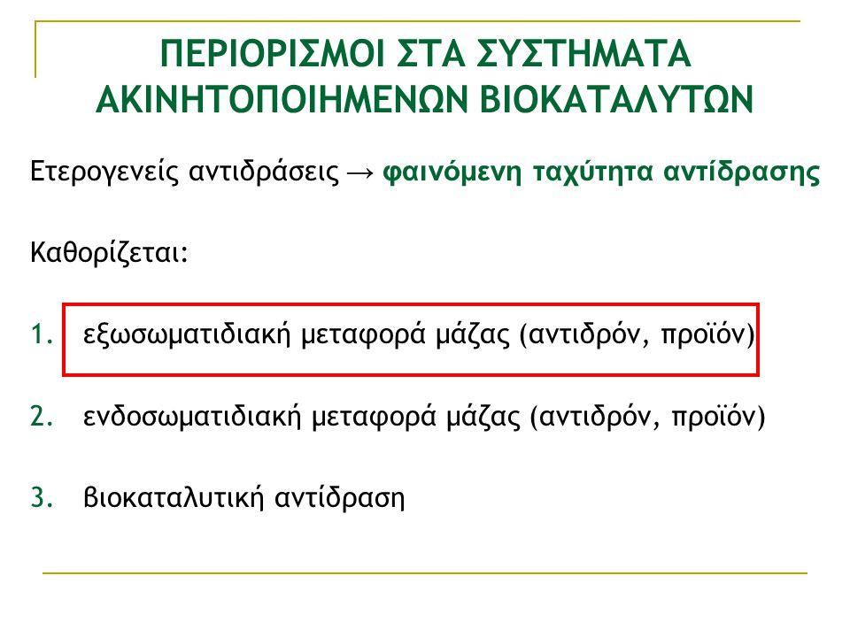 ΠΕΡΙΟΡΙΣΜΟΙ ΣΤΑ ΣΥΣΤΗΜΑΤΑ ΑΚΙΝΗΤΟΠΟΙΗΜΕΝΩΝ ΒΙΟΚΑΤΑΛΥΤΩΝ Ετερογενείς αντιδράσεις → φαινόμενη ταχύτητα αντίδρασης Καθορίζεται: 1.εξωσωματιδιακή μεταφορά μάζας (αντιδρόν, προϊόν) 2.ενδοσωματιδιακή μεταφορά μάζας (αντιδρόν, προϊόν) 3.βιοκαταλυτική αντίδραση