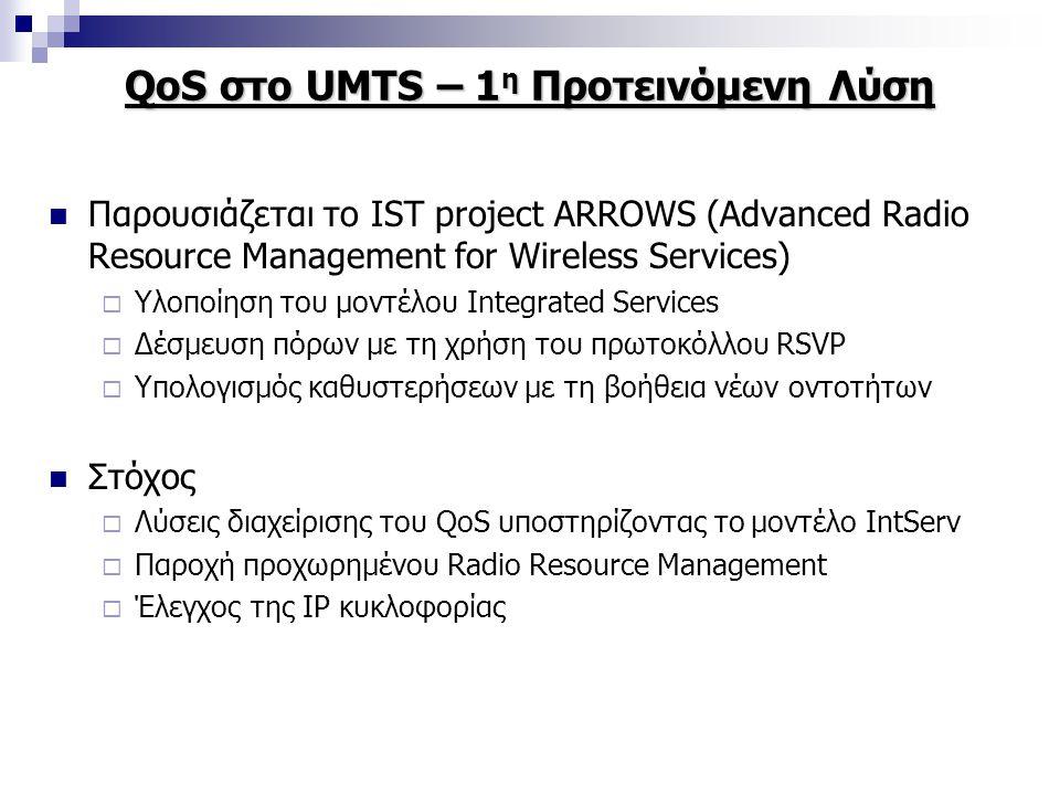 QoS στο UMTS – 1 η Προτεινόμενη Λύση Παρουσιάζεται το IST project ARROWS (Advanced Radio Resource Management for Wireless Services)  Υλοποίηση του μοντέλου Integrated Services  Δέσμευση πόρων με τη χρήση του πρωτοκόλλου RSVP  Υπολογισμός καθυστερήσεων με τη βοήθεια νέων οντοτήτων Στόχος  Λύσεις διαχείρισης του QoS υποστηρίζοντας το μοντέλο IntServ  Παροχή προχωρημένου Radio Resource Management  Έλεγχος της IP κυκλοφορίας