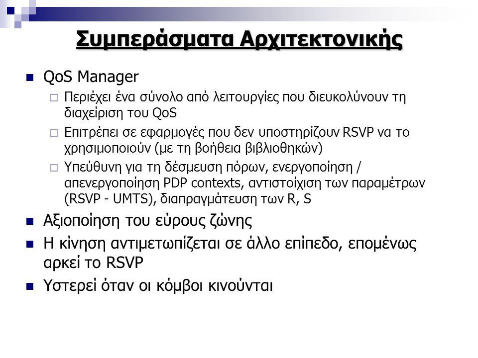 Συμπεράσματα Αρχιτεκτονικής QoS Manager  Περιέχει ένα σύνολο από λειτουργίες που διευκολύνουν τη διαχείριση του QoS  Επιτρέπει σε εφαρμογές που δεν