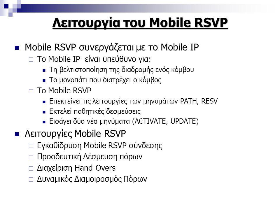 Λειτουργία του Mobile RSVP Mobile RSVP συνεργάζεται με το Mobile IP  Το Mobile IP είναι υπεύθυνο για: Τη βελτιστοποίηση της διαδρομής ενός κόμβου Το μονοπάτι που διατρέχει ο κόμβος  Το Mobile RSVP Επεκτείνει τις λειτουργίες των μηνυμάτων PATH, RESV Εκτελεί παθητικές δεσμεύσεις Εισάγει δύο νέα μηνύματα (ACTIVATE, UPDATE) Λειτουργίες Mobile RSVP  Εγκαθίδρυση Mobile RSVP σύνδεσης  Προοδευτική Δέσμευση πόρων  Διαχείριση Hand-Overs  Δυναμικός Διαμοιρασμός Πόρων
