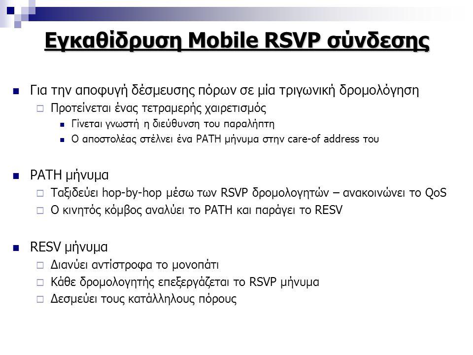Εγκαθίδρυση Mobile RSVP σύνδεσης Για την αποφυγή δέσμευσης πόρων σε μία τριγωνική δρομολόγηση  Προτείνεται ένας τετραμερής χαιρετισμός Γίνεται γνωστή η διεύθυνση του παραλήπτη Ο αποστολέας στέλνει ένα PATH μήνυμα στην care-of address του PATH μήνυμα  Ταξιδεύει hop-by-hop μέσω των RSVP δρομολογητών – ανακοινώνει το QoS  Ο κινητός κόμβος αναλύει το PATH και παράγει το RESV RESV μήνυμα  Διανύει αντίστροφα το μονοπάτι  Κάθε δρομολογητής επεξεργάζεται το RSVP μήνυμα  Δεσμεύει τους κατάλληλους πόρους