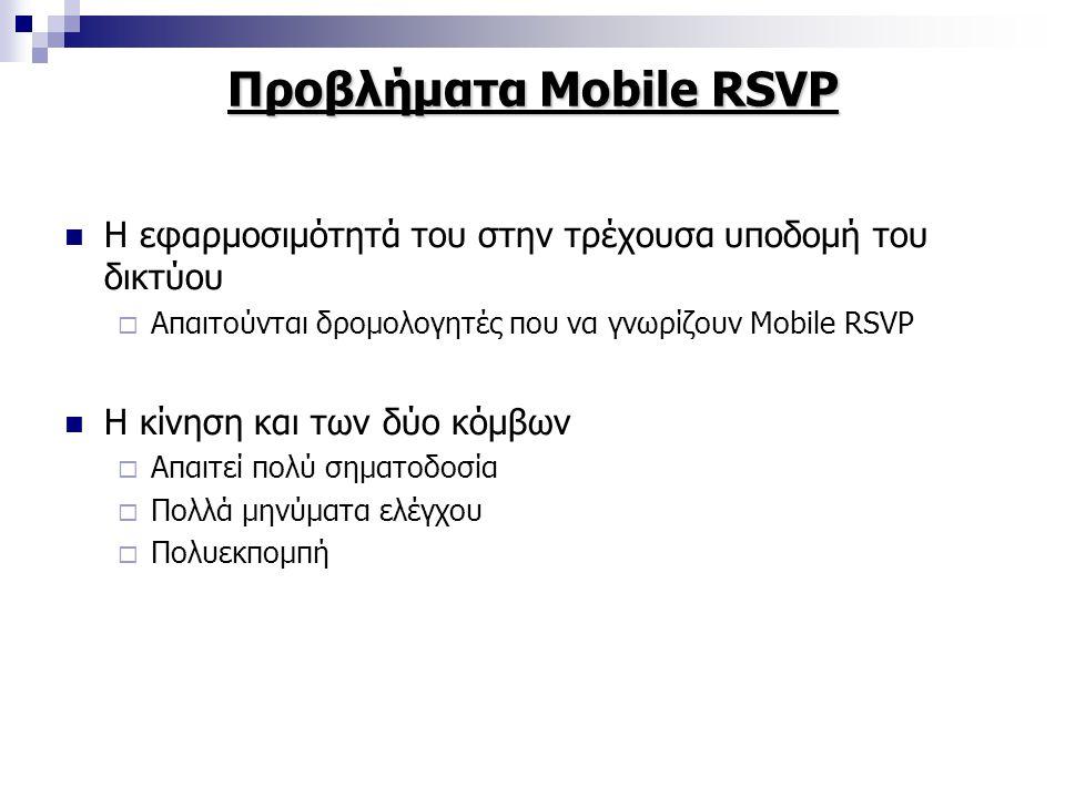 Προβλήματα Mobile RSVP Η εφαρμοσιμότητά του στην τρέχουσα υποδομή του δικτύου  Απαιτούνται δρομολογητές που να γνωρίζουν Mobile RSVP Η κίνηση και των