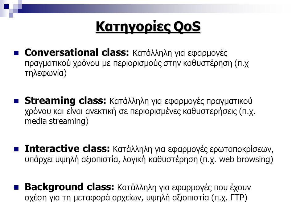 Κατηγορίες QoS Conversational class: Κατάλληλη για εφαρμογές πραγματικού χρόνου με περιορισμούς στην καθυστέρηση (π.χ τηλεφωνία) Streaming class: Κατάλληλη για εφαρμογές πραγματικού χρόνου και είναι ανεκτική σε περιορισμένες καθυστερήσεις (π.χ.