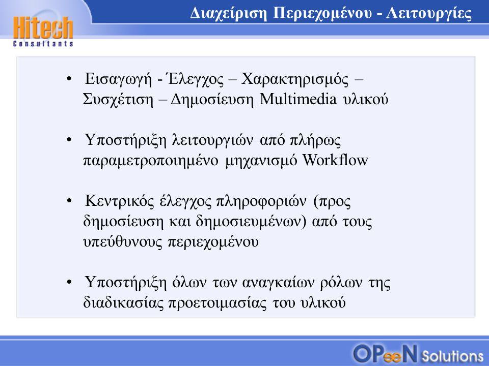 Εισαγωγή - Έλεγχος – Χαρακτηρισμός – Συσχέτιση – Δημοσίευση Multimedia υλικού Υποστήριξη λειτουργιών από πλήρως παραμετροποιημένο μηχανισμό Workflow Κεντρικός έλεγχος πληροφοριών (προς δημοσίευση και δημοσιευμένων) από τους υπεύθυνους περιεχομένου Διαχείριση Περιεχομένου - Λειτουργίες Υποστήριξη όλων των αναγκαίων ρόλων της διαδικασίας προετοιμασίας του υλικού