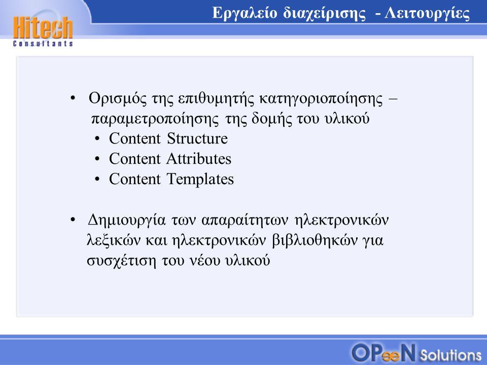 Ορισμός της επιθυμητής κατηγοριοποίησης – παραμετροποίησης της δομής του υλικού Content Structure Content Attributes Content Templates Δημιουργία των απαραίτητων ηλεκτρονικών λεξικών και ηλεκτρονικών βιβλιοθηκών για συσχέτιση του νέου υλικού Εργαλείο διαχείρισης - Λειτουργίες