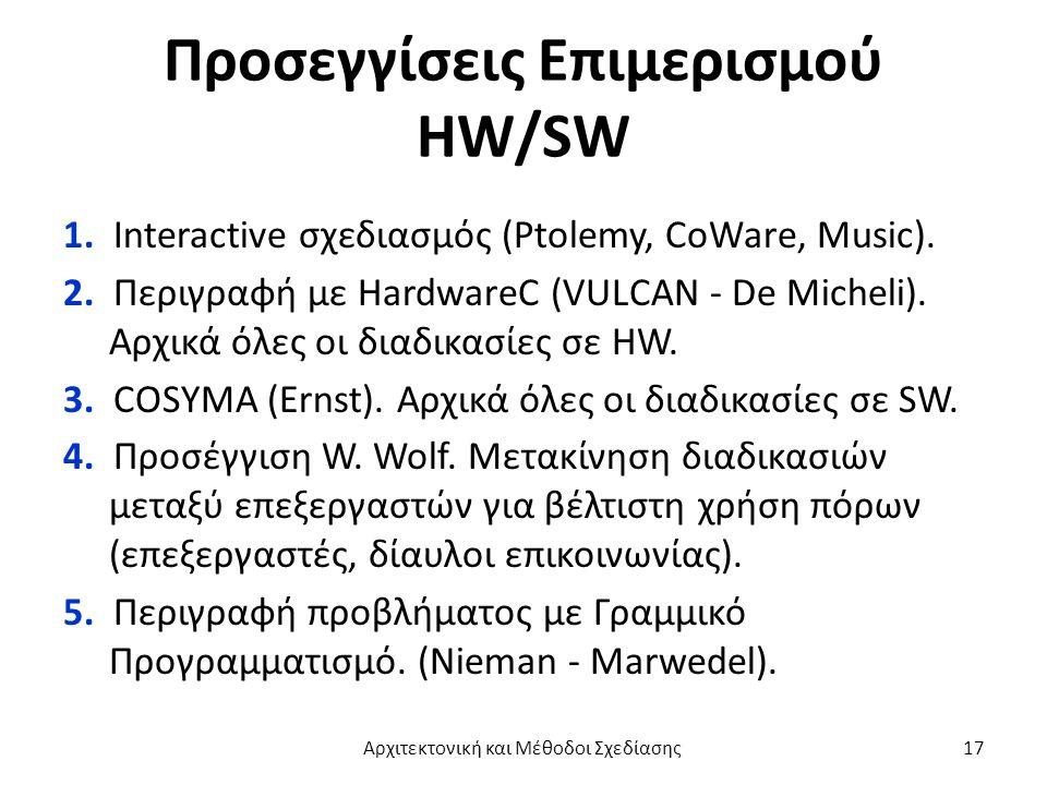 Προσεγγίσεις Επιμερισμού HW/SW 1. Interactive σχεδιασμός (Ptolemy, CoWare, Music).