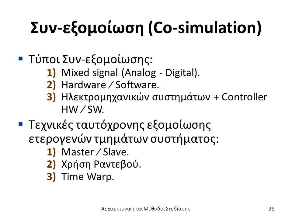 Συν-εξομοίωση (Co-simulation)  Τύποι Συν-εξομοίωσης: 1) Mixed signal (Analog - Digital).