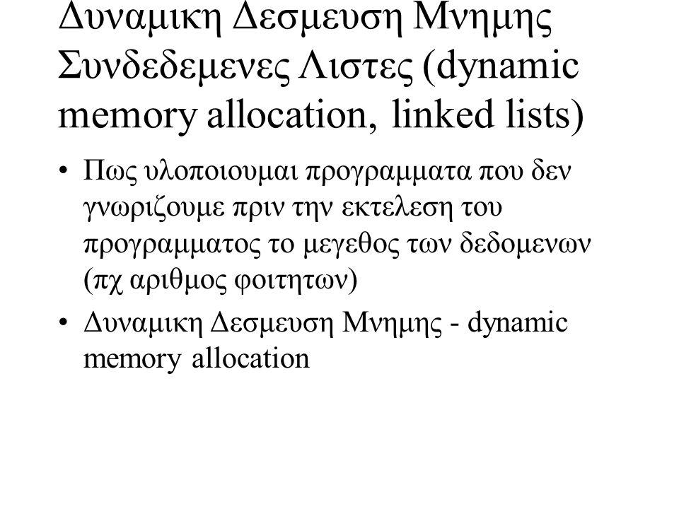 Δυναμικη Δεσμευση Μνημης Συνδεδεμενες Λιστες (dynamic memory allocation, linked lists) Πως υλοποιουμαι προγραμματα που δεν γνωριζουμε πριν την εκτελεσ