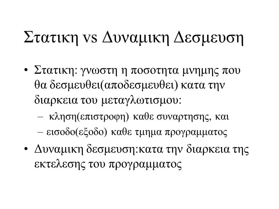 Στατικη vs Δυναμικη Δεσμευση Στατικη: γνωστη η ποσοτητα μνημης που θα δεσμευθει(αποδεσμευθει) κατα την διαρκεια του μεταγλωτισμου: – κληση(επιστροφη)