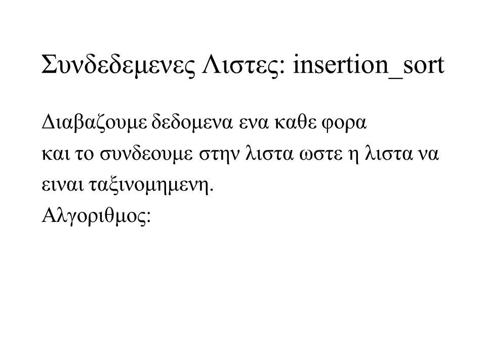 Συνδεδεμενες Λιστες: insertion_sort Διαβαζουμε δεδομενα ενα καθε φορα και το συνδεουμε στην λιστα ωστε η λιστα να ειναι ταξινομημενη. Αλγοριθμος:
